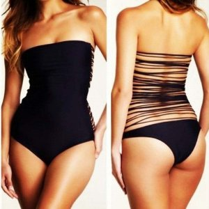 Amazon.com: Sexy Black One Piece Monokini Straps Back Frnges Tassels Bathing Suit Swimwear: Sports & Outdoors