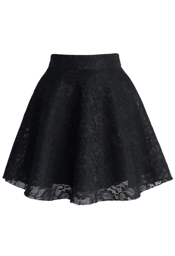 Black Full Lace Skater Skirt - Retro, Indie and Unique Fashion