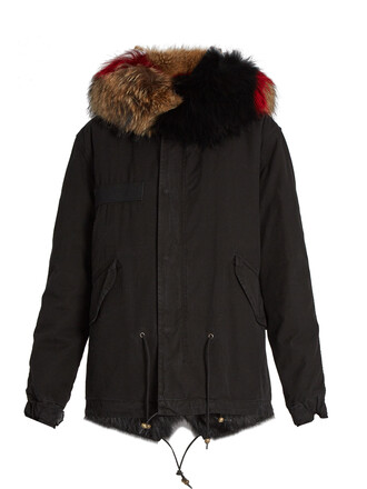 parka mini fur black coat