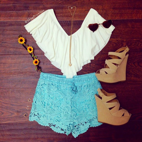 top blouse shorts sunglasses