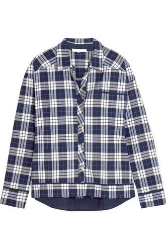 shirt plaid navy cotton top