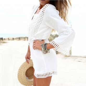 jumpsuit white long sleeves v neck slim ruffles jumpsuite sexy lady fashion loose summer lace side chiffon party best outfit