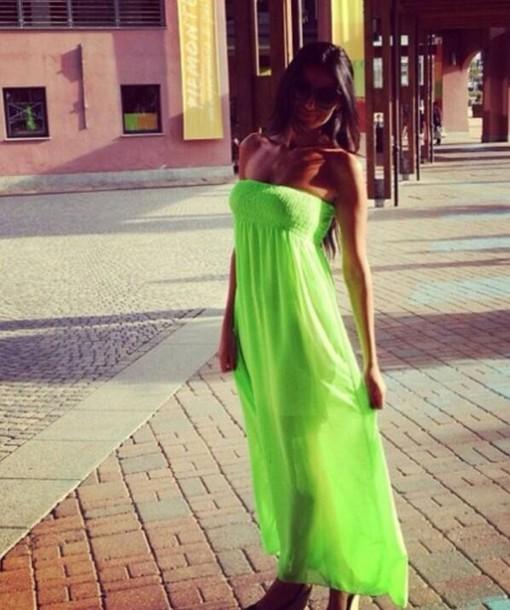 dress strapless dress neon dress