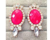 jewels,boucle d'oreille,rose,diamonds,dor?