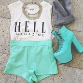 shorts,amazing,High waisted shorts,mint,Hell magazine,tank top,mint pants,high heels,necklace,outfit,crop tops,white,grey top,graphic tee,shoes,blouse,girl,clothes,t-shirt,hat,lovely,boots,chanel inspired,shirt,hell,gold,top,mint green bottom,red,light blue,swag,summer outfits,hello kitty,teal,high heel booties,cute outfits,turqoise,short,beanie,blue shorts,clothes-shorts,turquoise