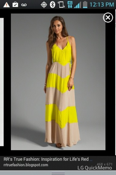 dress yellow dress maxi dress stripes style