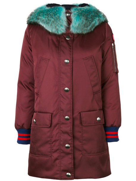Miu Miu coat parka fur women wool purple pink