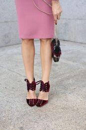 shoes,tumblr,velvet,velvet shoes,velvet sandals,red shoes,burgundy,burgundy shoes,bag,lace-up shoes,jimmy choo
