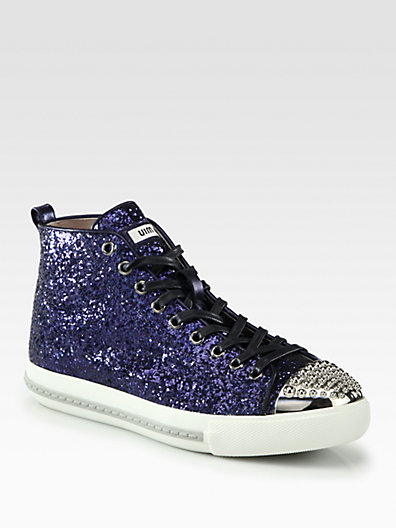 Studded glitter high top sneakers