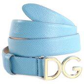 belt,logo belt,blue,blue belt,silver,baby blue,leather,leather belt,dolce and gabbana