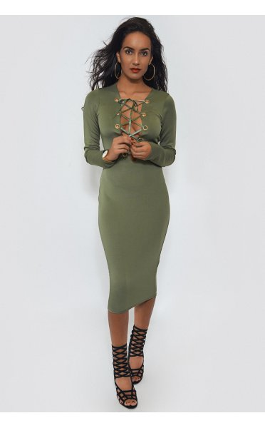 Khaki Lace Up Bodycon Midi Dress - from The Fashion Bible UK