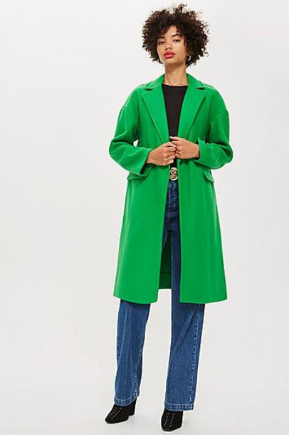 TopShop Tall Relaxed Overcoat - Green