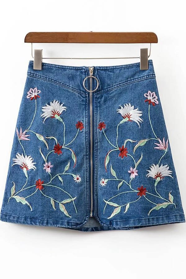 Blue Floral Embroidered Zipper Up Denim Skirt