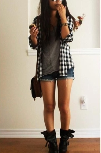 shoes boots little black boots fashion style clothes cardigan skirt