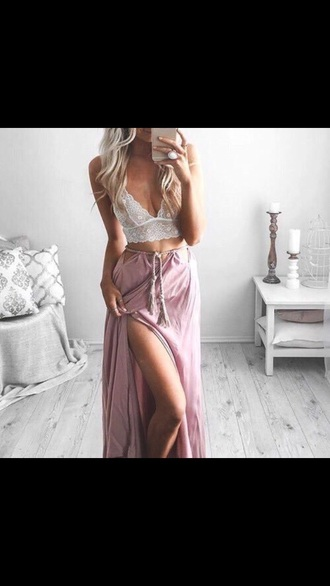 skirt crop tops pink white beautiful long skirt flowy lace top pretty summer summer outfits want cute sexy bralette pink skirt white top want both