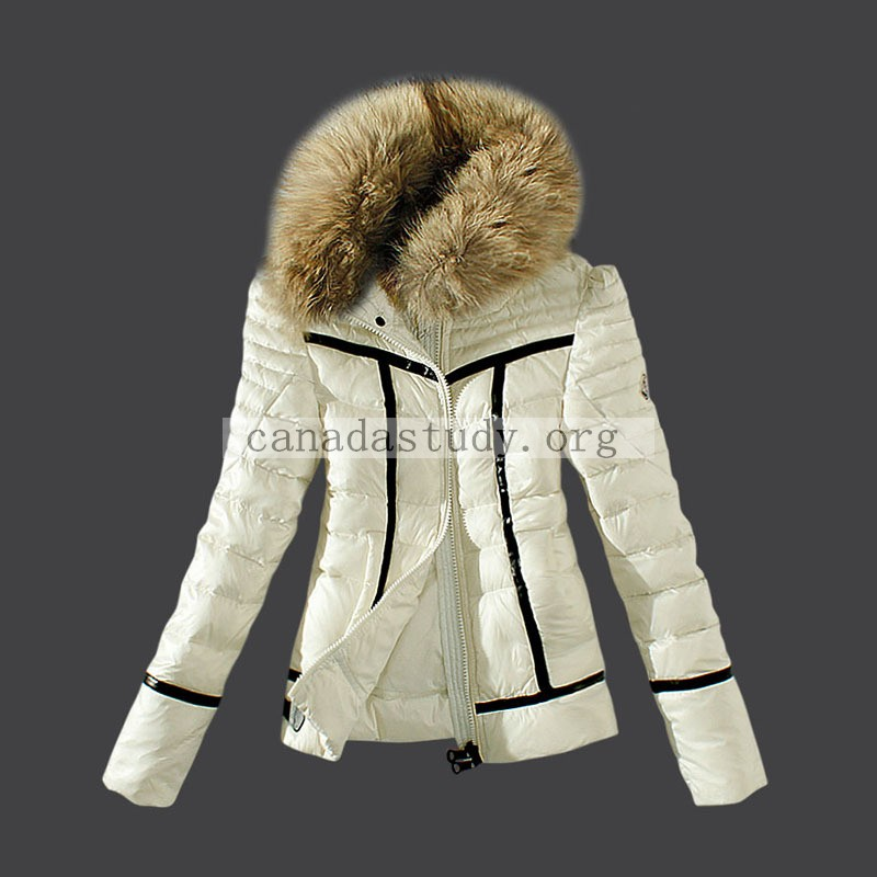Moncler Down Coats Women Fur Collar Ivory Outlet MC1569 - Moncler Outlet Sale