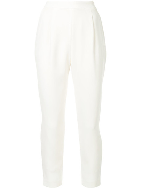 Estnation cropped high women white pants