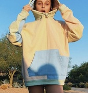 sweater,emma chamberlain,hoodie,pastel,colorblock,oversized,urban outfitters