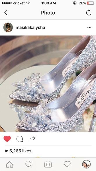 shoes jimmychoo heels glass slippers cinderella glass shoe cinderella pretty high heels rine stone diamonds jimmy choo jimmy choo for h&m jimmy crystal glitter sparkle sparkly heels