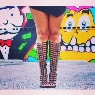 shoes black heels knee high gladiator sandals lace up