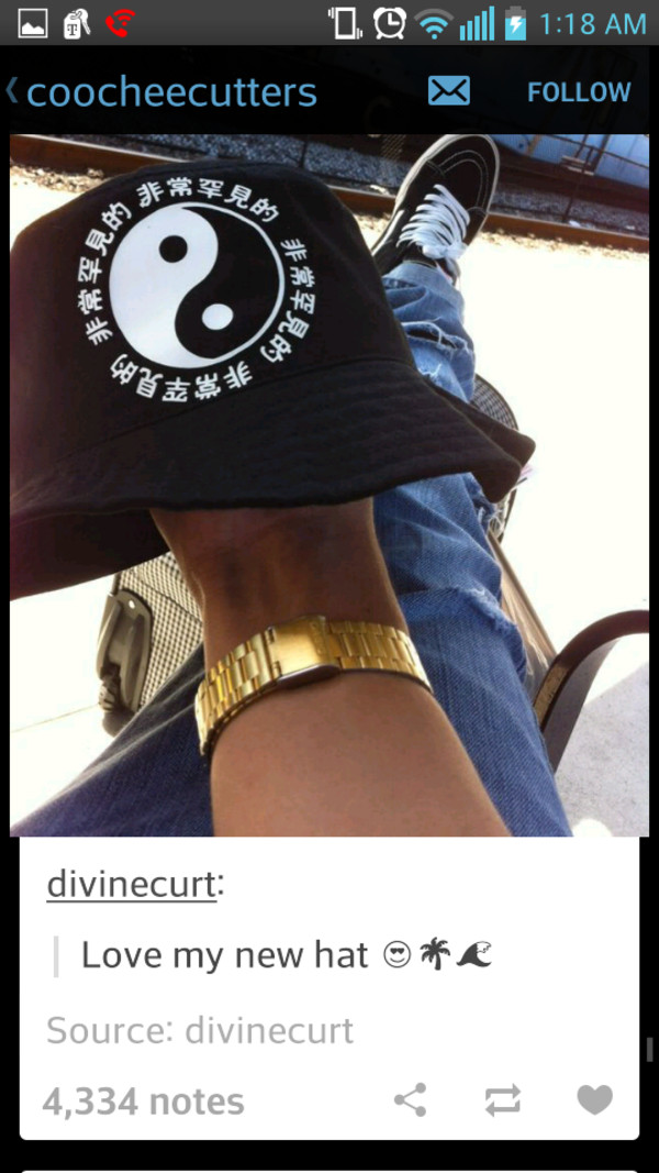 hat bucket hat black yin yang yin yang yin yang