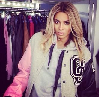 jacket ciara varsity jacket outerwear pink grey