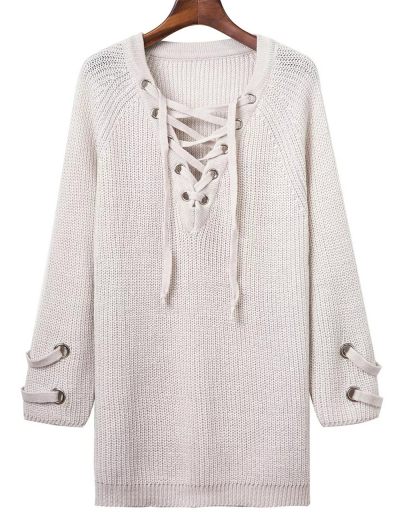 Lace Up V Neck Solid Color Sweater