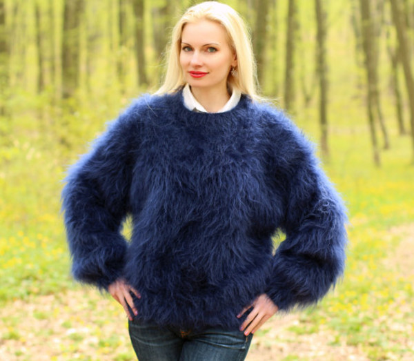 sweater hand knit made supertanya mohair blouse jumper pullover soft fluffy fluffy angora cashmere alpaca wool