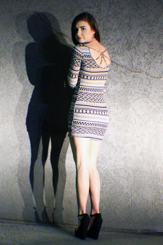 The Perfect Party Dress, Tribal Pattern Mini Dress, Back Detail Mini - METROmorphos