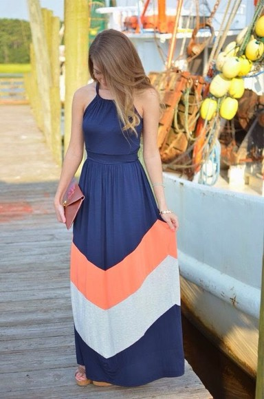 dress blue maxi dress summer stripes