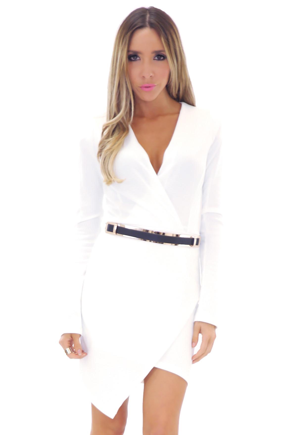 JANICE DEEP-V BODYCON DRESS - WHITE   Haute & Rebellious