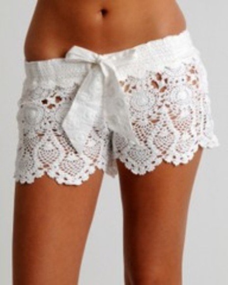 shorts white crochet cute style fashion sexy white lace shorts crochet shorts shirt, shorts, lace, bows, white, bag, japanese, korean, tights, thigh highs, see through lace shorts white shorts
