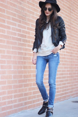 frankie hearts fashion blogger hat leather jacket skinny jeans jacket sweater jeans shoes