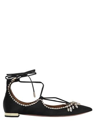 flats silk satin black shoes