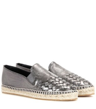 metallic espadrilles leather shoes