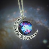 jewels,necklace,moon necklace,galaxy print,pendant,silver jewelry,moon,silver