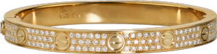 LOVE bracelet, diamond-paved: LOVE bracelet, 18K yellow gold, set with 204 brilliant-cut diamonds totaling 2 carats.