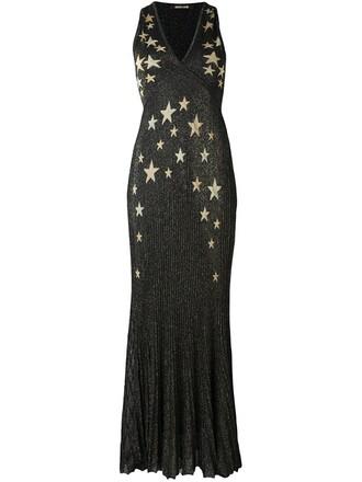 gown print black dress