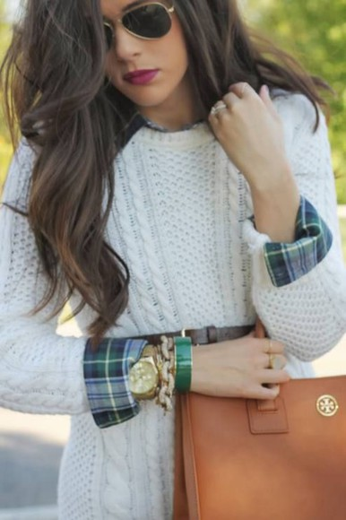 blouse knit top cable knit classy simple jewels bag