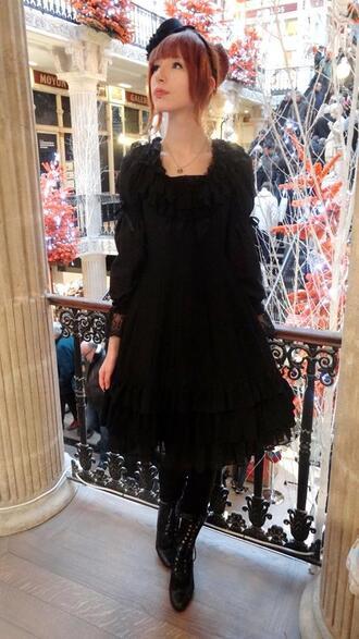 dress goth gothic lolita victorian black dress black gothic dress