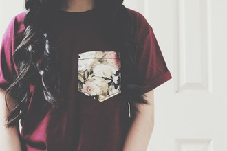 t-shirt pocket t-shirt roses burgundy top