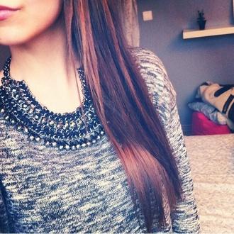 jewels cute silver black top sweater grey grey top girly