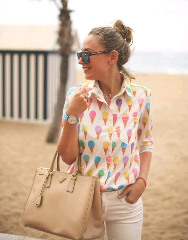 sunglasses button up ice cream jeans bag jewelry watch necklace bracelets yellow purple jacket