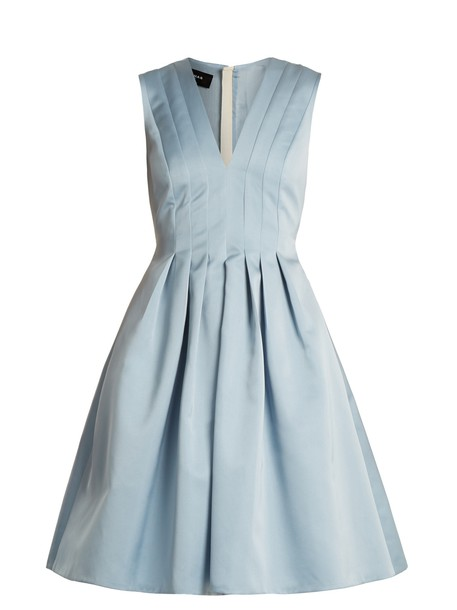 Rochas dress satin dress pleated satin light blue light blue