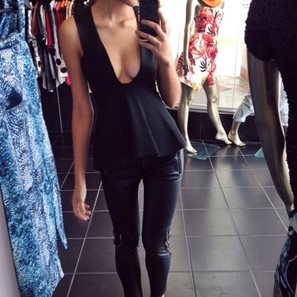 pants leather black slim shirt blouse