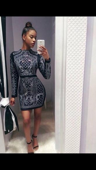 dress sparkly dress long sleeves short dress