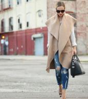 jacket,beige jacket,classy,sans manche,manteaux