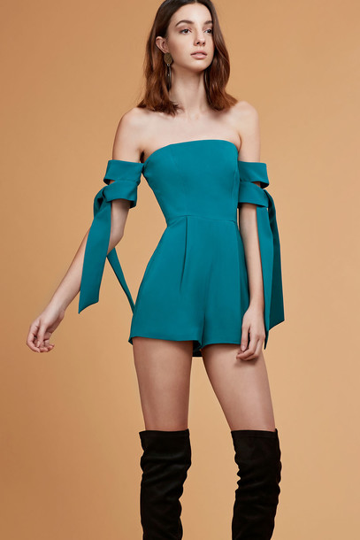 C/MEO COLLECTIVE CHARGED UP PLAYSUIT emerald