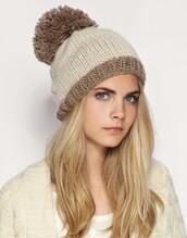 hat,pom poms,cap,cara delevingne,bonnet,brown,beige,celebrity