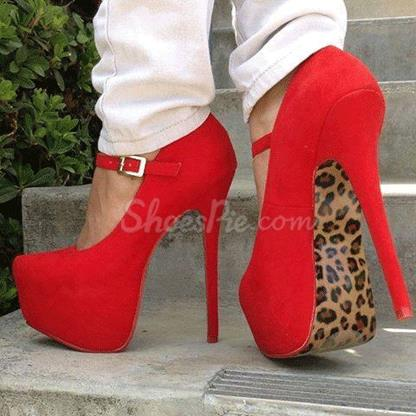 Gorgeous red suede leopard print high heel shoes
